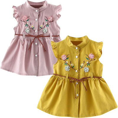 Fashion Toddler Baby Girls Flowers Lace-Up Skirt Party Dress Princess Dresses