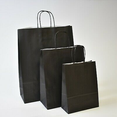 Strong Black Paper Bags Plain Twisted Handle Carrier Twist Gift Fashion Party