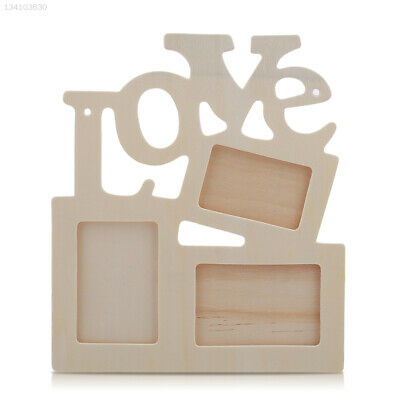 A4F3 Durable Hollow Love Wooden Family Photo Frame White Base DIY Home Decor