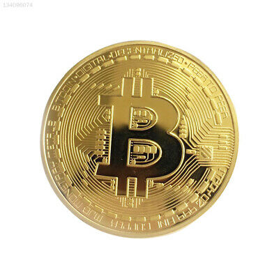 86E4 Gold Coin Bitcoin Jewelry Collection Plated BTC Collectible Electroplating