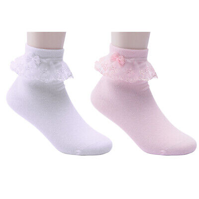 Baby Girls Tutu Ankle Socks Bowknot Embroidered Lace Ruffle Frilly Short Socks