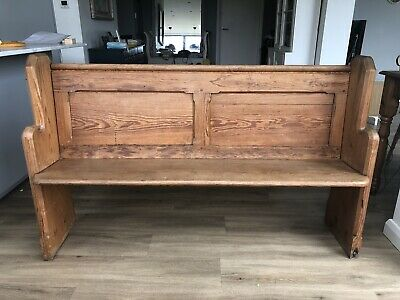Victorian Pitch Pine Church Pew. 145 Long Freestanding In Lovely Condition