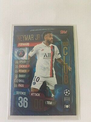 Match Attax Extra 2019/20  Neymar Junior 100 Club Clu11  Mint Condition