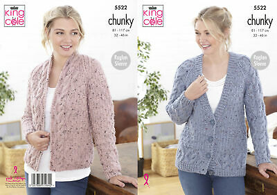 King Cole Ladies Chunky Knitting Pattern Womens Raglan Cable Knit Cardigans 5522