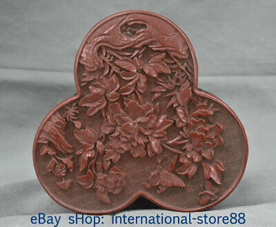 """7"""" Marked Old China Lacquerware Dynasty Palace Peony Flower Jewelry box"""
