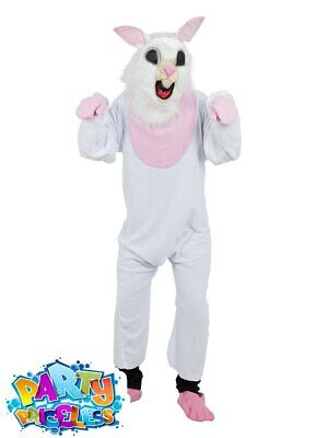 Adult Easter Bunny Costume White Rabbit Tea Party Mascot Mens Ladies Fancy Dress