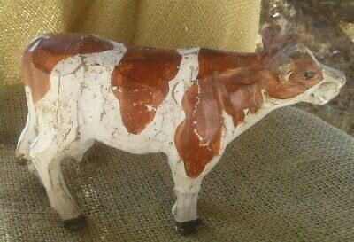 """Antique Hand carved Wooden Milk Cow 5""""T × 7""""L With Glass Eyes 1 Chip On Hoof..."""