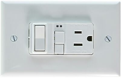 EATON GFCI Self-Test 15A -125V Receptacle with Switch with Mid-Size Wallplate, W