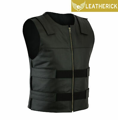 WWE The Shield Roman Reigns Tactical Leather Vest Mens Classic Collarless Vest