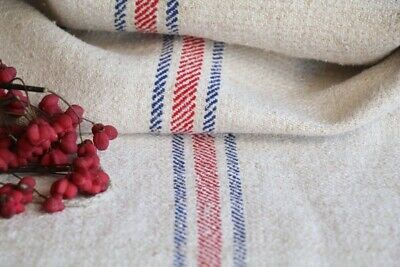 H 577 antique french linen grain sack grainsack natural creamy blue red
