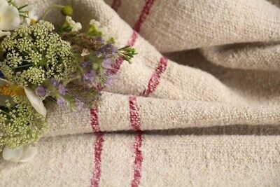 H 633 antique french linen grain sack grainsack natural creamy rasperry red