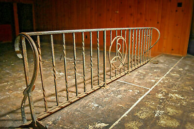 9.25 FT. Hand Forged Decorative Railing Scrolled, Twist Iron 1949 Estate Salvage