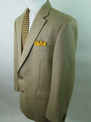 Ralph Lauren Men's Silk Wool Beige Houndstooth Blazer Jacket Sport Coat 44 L EUC