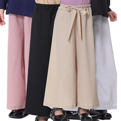 Kids Girls Loose Stretch Pants Casual High Waist Bowknot Wide Leg Autumn Trouser