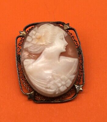 Vintage CAMEO antique shell hand carved brooch filigree woman portrait patina