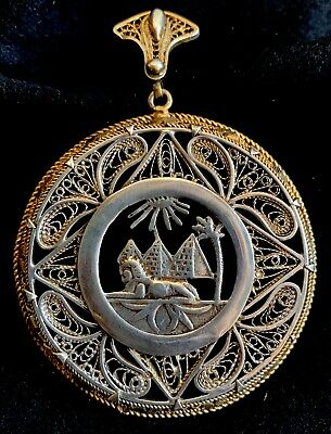 Antique Victorian Egyptian Revival Sterling Silver-Gold Washed Filigree Pendant