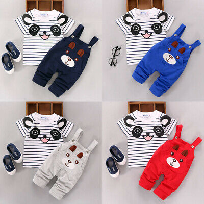 2PCS/Set Toddler Kids Baby Boy Girl Tops T-shirt+Long Bib Pants Outfits Overalls