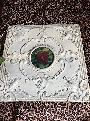 Shabby Chic Antique Tin Ceiling Frame With Rose Picture Large!