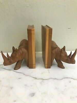Wood Carved Rhino Book Ends