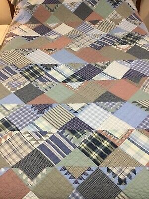 "VINTAGE Hand Quilted  Mixed Plaids Patchwork QUILT 70""W x 86""L"