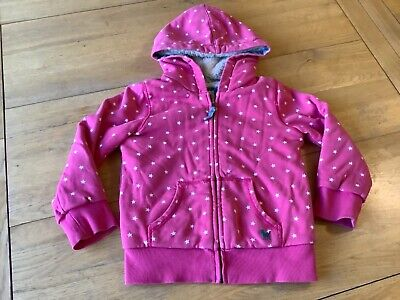 mini boden sherpa / shaggy lined hoodie 4-5 - pink & white stars