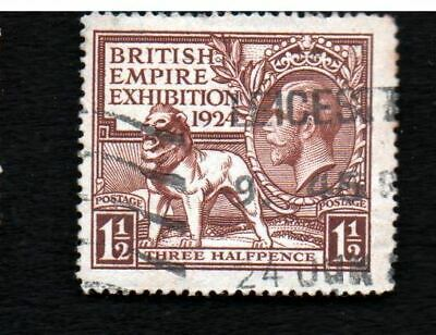 SG431 1924 GB KGV 1½d Brown British Empire Exhibition Postally Used