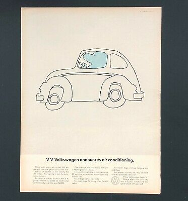 1968 Volkswagen Beetle Advertisement VW Bug Air Conditioning Vintage Print AD