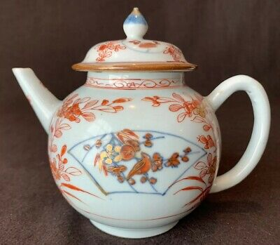 Antique Chinese Export or Lowestoft Teapot and Lid Gold Orange Floral Circa 1800