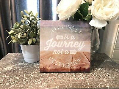 Happiness is a Journey not a Destination Canvas Sign Arrow Wall Art Home Decor