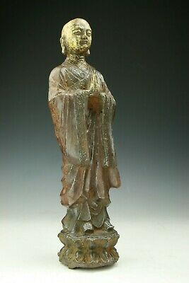 A Big Chinese Antique Gilt On Iron Monk Figure