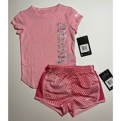 Nike Toddler Girls Dri Fit Shorts & Tee Shirt Set Outfit Pink 3T NEW #5