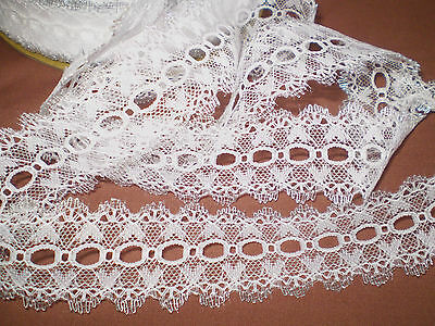 Eyelet/knitting in/coathanger lace 10 metres x 4cm wide white/silver edging