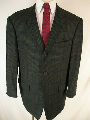 Pal Zileri Mens Charcoal Plaid 3 Btn Wool Cashmere Sport Coat 46R Italy Made