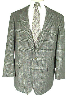 Brooks Brothers Mens Grey Glen Plaid 2 Btn Camel Hair Sport Coat 46L USA Made