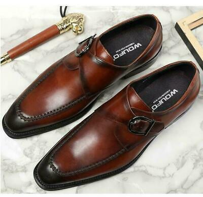 2020 Mens Shoes Pointy Toe Business Dress Wedding Leather Buckle British Vintage