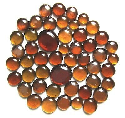 50 x Shades of Ancient Amber Mosaic Pebbles Art Glass Stones - Assorted Sizes