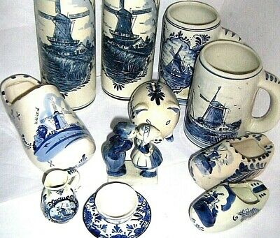 DELFT BLUE POTTERY shoes, tankards and other - click SELECT to browse or order