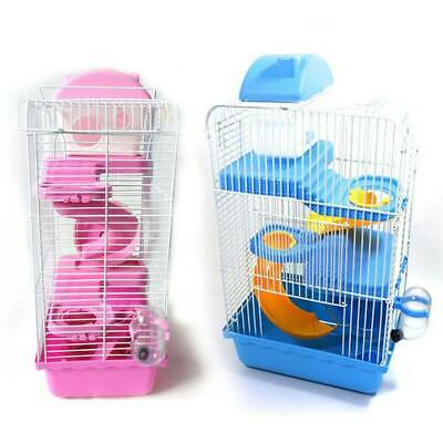 3 Storey Hamster Cage Pet Mice Rat Gerbil Play House - Water Bottle Wheel Ladder