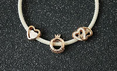 Bd093 GENUINE 9ct Solid Rose Gold Crown Drop Dangle Bead Charm Queen Princess