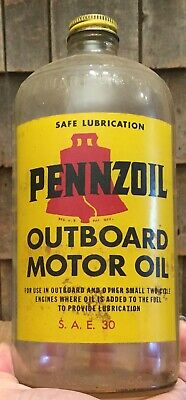 Rare Vintage 1Qt PENNZOIL Outboard Motor Oil Glass Jar Can Gas Service Station