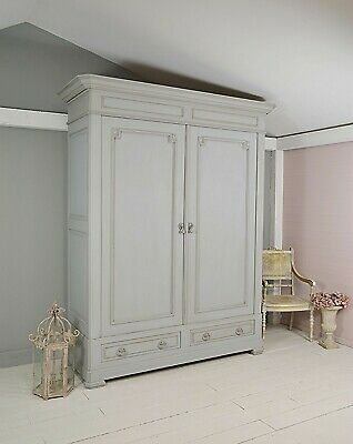 Very Large Antique French Knock Down Armoire Wardrobe (Grey) - Free UK Delivery!