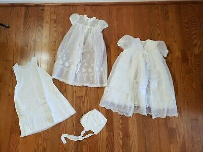 Vtg MADONNA by HADDAD Baptism Christening Gown 4 pc Set Ivory Sheer Emboider
