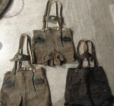Vintage German Authentic Lederhosen Group Lot Child Size