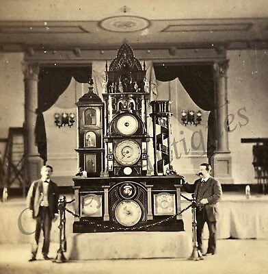 Antique 19thc Worlds Fair Expo Curiosity Barometer Carving Stereoview Photo