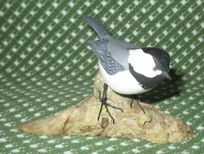 Hand Carved Painted Wooden CHICKADEE Sculpture on Driftwood Signed