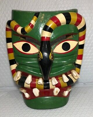 Vintage Tribal Hand Carved Wood Mask With Horse Teeth Folk Art