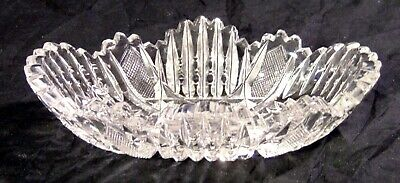 ABP BRILLIANT CUT GLASS CRYSTAL Olive Mint Nut bowl Hobstars Notched Miters