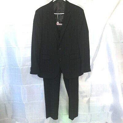 Kenneth Cole Mens Black Double Vent Lightweight Wool Suit 42R Pants 36 X 30