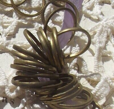 Lot Vintage French Curtain rings small brass loops Drapery