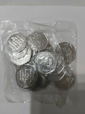 Full sealed bag 20 x 50p Brand new brexit 50p coins in sealed bag. UNCIRCULATED